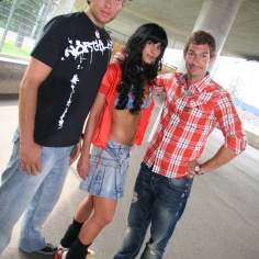 "Red Bull Videoproduction ""Trendspy"" with snowboard legend Benjamin Karl and TV presenter Micky Beisenherz."