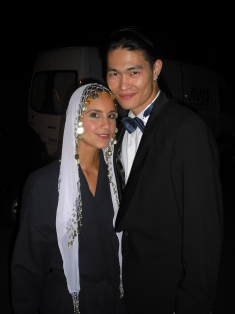 """Me (as a belly dancer) and Eddie on set for """"Geld macht Liebe""""."""
