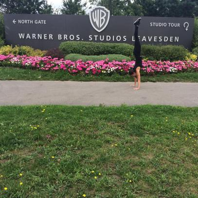 Handstanding after the fitting at Warner Bros Studios.